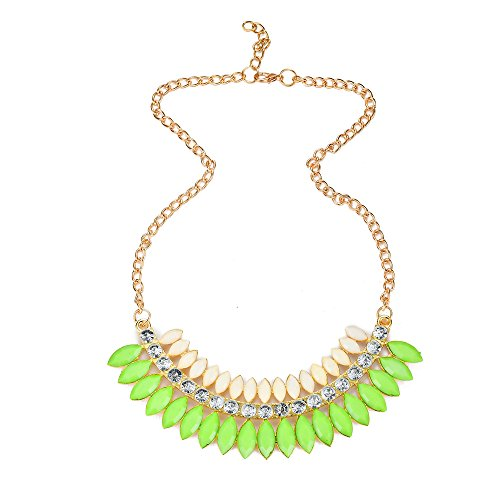 JADA Collections Gold Tone Fashion Statement Bib Necklace w/Colored Marquise Shaped Acrylic stones & Crystals, By (Marquise Shaped Stones)