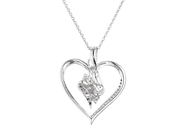 "Sterling Silver Diamond 3 Stone Heart Pendant Necklace (1/4 cttw), 18"" 4"