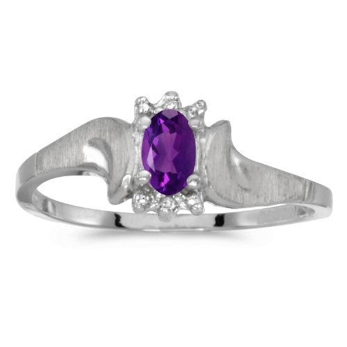 0.19 Carat ctw 14k Gold Oval Purple Amethyst Solitaire & Diamond Bypass Promise Ring Satin Finish - White-gold, Size 6