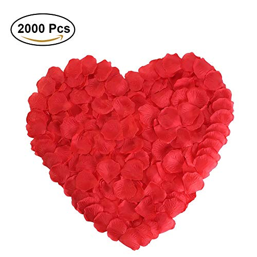 Red Rose Petals Silk Flower for Wedding Proposal Decorations 2000PCS by -