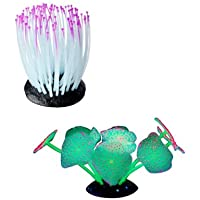Aquarium ornaments | Set of 2 Coral Plants | Glow-In-the-Dark Aquarium Decorations by Pro Products | Fish Tank Safe Plant Accessories - Beautiful Glowing Orange/ Green and Purple Coral Plants provides Shelter for your Tropical Fish.