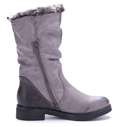 Schuhtempel24 Damen Schuhe Winterstiefeletten Stiefel Boots Blockabsatz 4 cm Grau