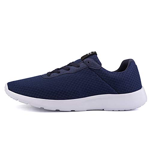 Msanlixian 2019 Men Casual Shoes Man Mesh Breathable Sneakers Men Oxford Loafers Retro Lace Up Male Trainers Tenis Masculino Adulto Blue A 7.5