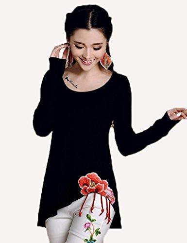 従来の重さ病気だと思うバイシン(BAISHUN)レディース 長袖 綿 ロング Tシャツ ファッション 不規則裾 刺繍 Tシャツ(ブラック1-04)