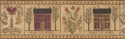Brewster International FDB06737 Heart Of The Country III Colonial Styled Homes Wall Border, 6.875-Inch by 180-Inch