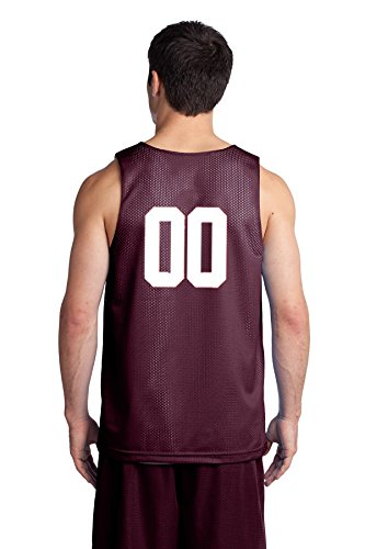 Custom Basketball Reversible Jersey Both Sides - Numbers Only On Back Both Sides (Small, Maroon)