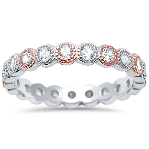 Simulated Gemstone & Cubic Zirconia Antique Style Bezel Set Eternity Stackable .925 Sterling Silver Ring Sizes 4-10 (Sterling Silver with Rose Gold Accent, (Gold Bezel Set Ring)