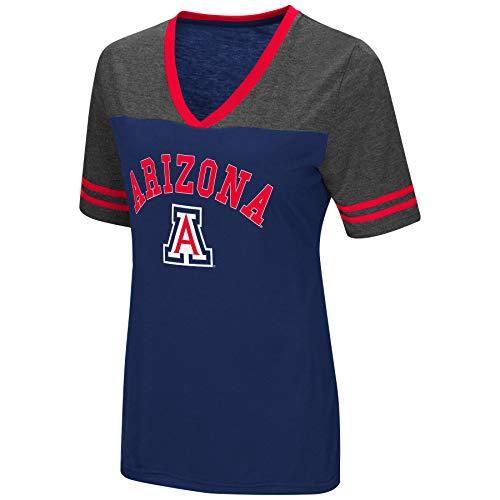 Colosseum Women's NCAA Varsity Jersey V-Neck T-Shirt-Arizona Wildcats-Navy-Small ()