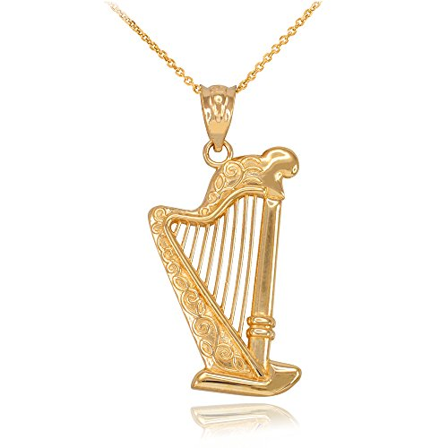 (Fine 14k Yellow Gold Harp Music Charm Pendant Necklace, 22