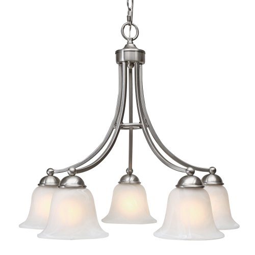 5 Pw Pewter Finish - Golden Lighting 1260-D5 PW Candace Five Light Nook Chandelier, Pewter Finish