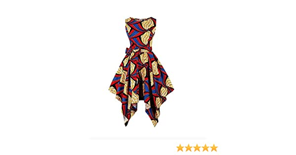 8138b85cef71 Amazon.com: Vintage Fashion Swing Dress Traditional Kaftan Maxi Asymmetric  Ethnic African Print Dashiki Dress Summer Waist Tie: Clothing