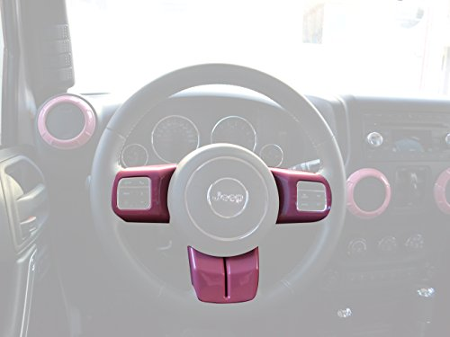 Opar 3PCS/Set Pink Steering Wheel Cover Trim for 2011 – 2017 Jeep Wrangler Jk Sahara Rubicon & Compass & Patriot