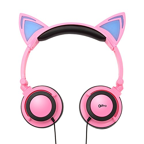 IPRO-Cat-LED-Headphones-with-LED-Ears-for-Kids-Foldable-Wired-Over-Ear-Gaming-Headset-Hifi-Stereo-Surround-Sound-Comfortable-Headband-with-Lovely-Glowing-Ears-for-GirlsBoysChildren-Xmax-Gift