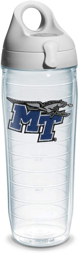 Tervis Middle Tennessee State University Emblem Individual Water Bottle with Gray lid, 24 oz, Clear