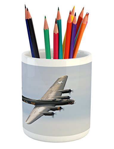 Lunarable Airplane Pencil Pen Holder, Memphis Belle Boeing B17 Flying Over Shoreham Retro Airfield Technology Image, Printed Ceramic Pencil Pen Holder for Desk Office Accessory, Multicolor