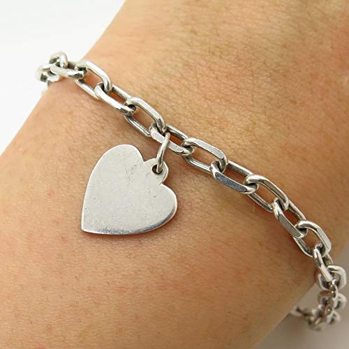 (Italy 925 Sterling Silver Dangling Heart Tag Oval Link Bracelet 6 3/4
