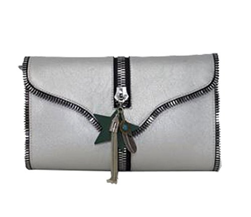 Women Zipped White Edge Silver Diva Clutch for Haute Bag Star ECwqHtx