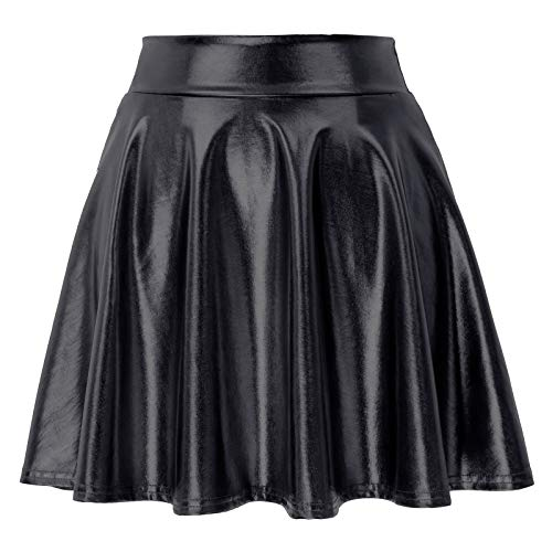 Women Metallic Faux Leather High Waist Full Circle Skater Skirt Black, Medium