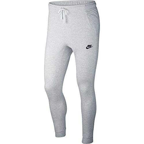 NIKE Mens Cuffed Jogger Cotton Jersey Light Sweatpants (Birch Heather/Black, L)