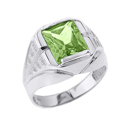 Men's Fine Sterling Silver Personalized 7ct August Birthstone CZ Statement Ring (Size 12.75)