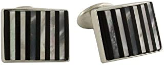 product image for David Donahue Men's Sterling Silver Black Onyx and Mother of Pearl Striped Cufflinks (CL549002)
