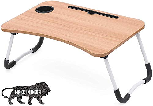 Meshu Foldable Bed Study Table Portable Multifunction Laptop Table Lapdesk for Children Bed Foldabe Table Work Office Home with Tablet Slot & Cup Holder Bed Study Table