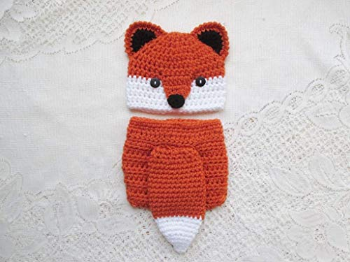 Crochet Baby Fox Hat and Diaper Cover Set - Baby Photo Prop - Baby Shower Gift - Available in 0 to 24 Months -