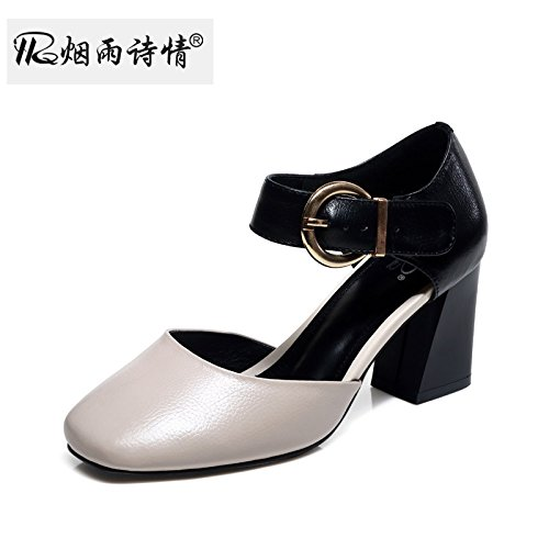 KPHY Baotou 7Cm High Heels Sandalen Sommer Damenschuhe Hohle Hohle Hohle Ferse Dicke Schuhe. f49fcd