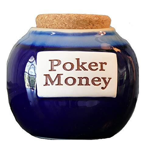 Tumbleweed Cottage Creek Poker Gifts Round Ceramic Poker Money Jar Poker Piggy Bank Poker Money Coin Bank/Gifts for Men [Blue]