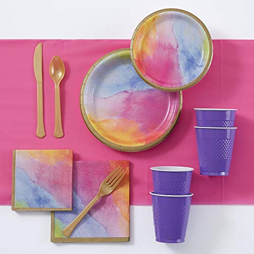Party City Watercolor Rainbow Tableware Kit for 16