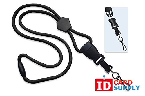 100 - Black Lanyards with Breakaway 1/4 (6mm) Strap and DTACH Swivel Hook ending [ 2135-4501 ] -
