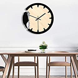 Kaplorei Nordic Woodpecker Style Wall Clock, Non-Ticking Silent Transparent Clock Battery Operated Round Easy to Read Home/Office/Classroom/School Clock