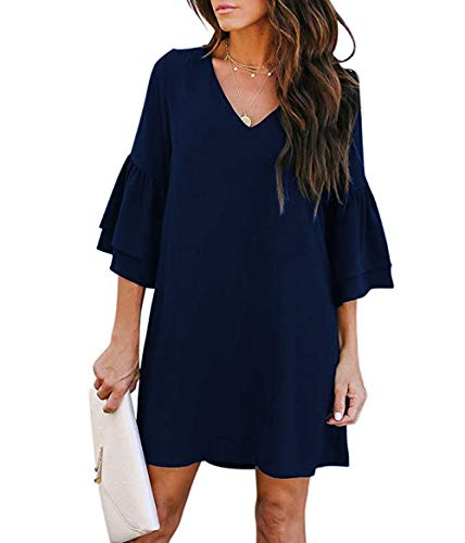 SimpleFun Womens Fall Flowy Ruffle Hem Tunic Dress V Neck Loose Swing Shift Dresses with Sleeves (S, Navy Blue)