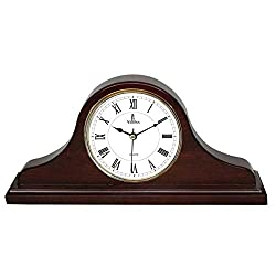 Best Mantel Clock, Silent Decorative Wood Desk Clock, Battery Operated, Dark Wooden Design, for Living Room, Office, Kitchen, Shelf & Home Décor Gift - 15 x 7.5