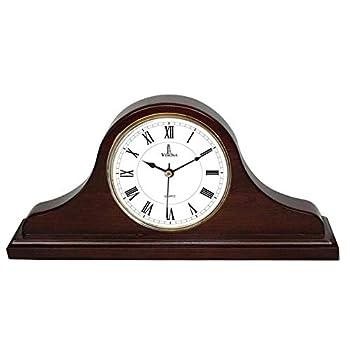 "Best Mantel Clock, Silent Decorative Wood Desk Clock, Battery Operated, Dark Wooden Design, for Living Room, Office, Kitchen, Shelf & Home Décor Gift - 15"" x 7.5"""