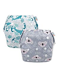 ALVABABY Swim Diapers Reuseable Washable Adjustable 0 to 36 mo.for Infants Toddlers 2 Pack One Size Swimming Lesson Gift YK59-YX35