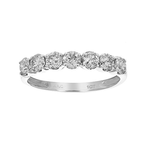 (1 CT Diamond Wedding Band Prong Set in 14K White Gold In Size 5)
