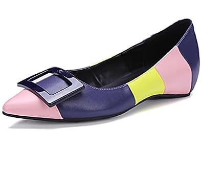 Nine Seven Women's Leather Pointtoe Low Heel Buckle Flats 5 B(M) US Multicolored