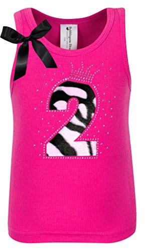 Bubblegum Divas Baby Girls 2nd Birthday Pink Zebra Print Animal Shirt 18mos