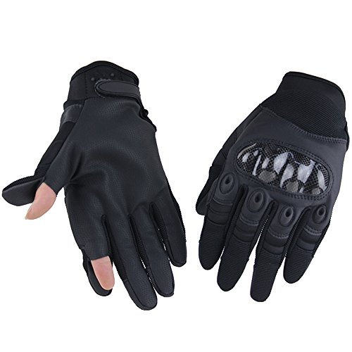 HONGYI Touch Screen Military Carbon Fiber Hard Knuckle Tactical Gloves Full Finger Pistol Fingers Gloves Cycling Motorcycle Hunting Gear Black XL