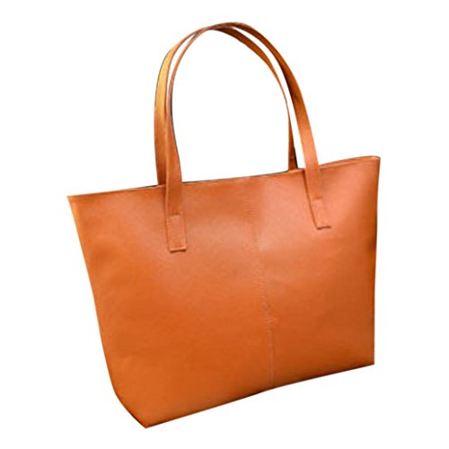 "Fulltime (TM) mujeres Casual bolso Lady bolsa de hombro tote bolso Messenger de piel, Infantil mujer, azul, 42X9X28CM(16.5""X3.5""X11.0) marrón"