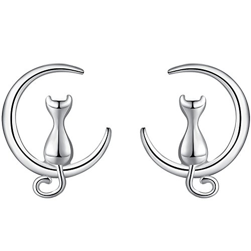 Women Girl Cute Cat and Moon 925 Sterling Silver Stud Earrings Best Gift for Lady