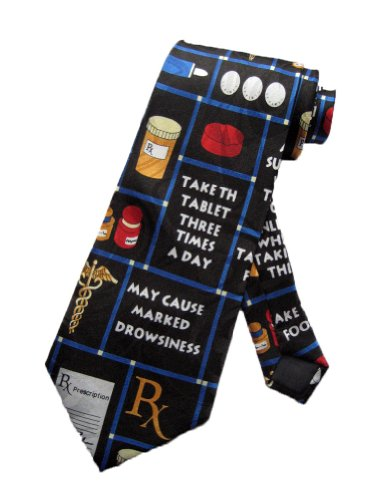 Steven Harris Mens Pharmacy Pharmacist Medicine Necktie-Black-One Size Neck Tie