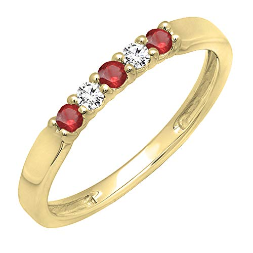 (Dazzlingrock Collection 14K Round Ruby & Diamond 5 Stone Ladies Anniversary Wedding Band, Yellow Gold, Size 7)