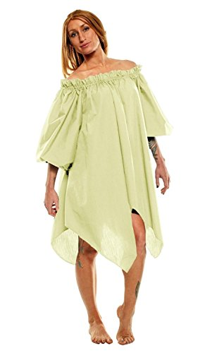 [Women's Renaissance Halloween Costume Pirate Peasant Wench Fairy Dress (One Size, Natural 100%] (Medieval Shirt Adult Costumes)