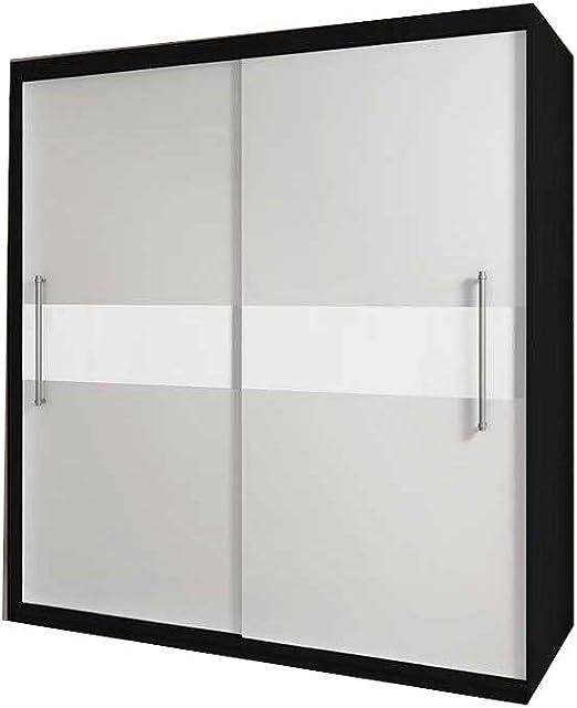 E-MEUBLES - Armario con 2 Puertas correderas, 204 x 218 x 58 cm, Nico con Cristal: Amazon.es: Hogar