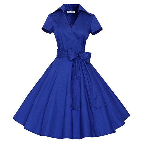 Maggie Tang 50s 60s Vintage Short Sleeves Rockabilly Party Dress RoyalBlue -