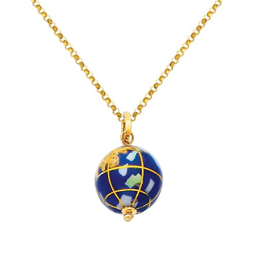 14k Gold Globe (Wellingsale 14k Yellow Gold Polished Earth Globe Enamel Charm Pendant with 1.2mm Classic Cable Chain Necklace - 22
