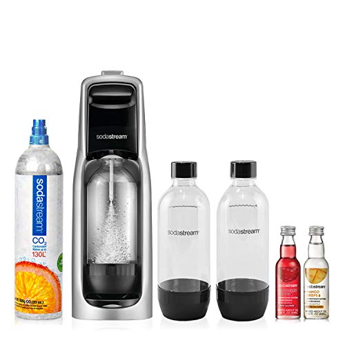 SodaStream Jet Sparkling Water Maker Bundle Kit, with 130 Liter CO2 Cylinder, Carbonating Bottles,...
