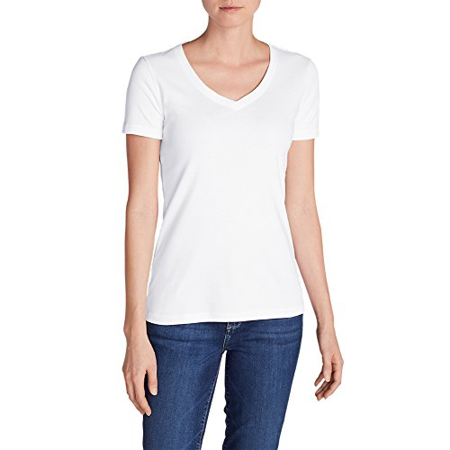Eddie Bauer Women's Favorite Short-Sleeve V-Neck T-Shirt, White Regular XXL Regu